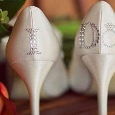 """I do"" on the back of the wedding shoes instead of on the bottom!"