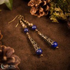 """Boucles d'oreille, lapis lazuli et quartz fumé - """"Dieux Sauvages"""""""