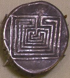 Labyrinth coin from ancient Knossos, Crete.