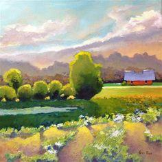 "Daily Paintworks - ""Farmhouse among Trees"" - Original Fine Art for Sale - © Sri Rao"