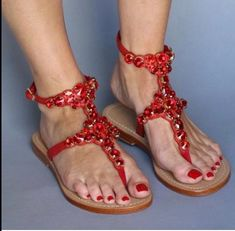 Women S Shoes Us European Conversion Pretty Sandals, Red Sandals, Summer Sandals, Flat Sandals, Mystique Sandals, Red Wedding Shoes, Bridal Sandals, Jeweled Sandals, Prom Heels