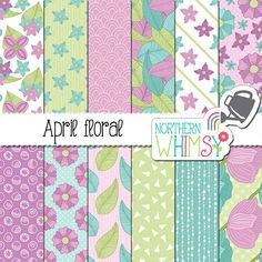 "Floral Digital Paper - ""April Floral"" - spring flower seamless patterns in purple, mint & pastel blue - scrapbook paper - commercial use OK"