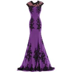 Sunvary Chiffon and Appliques Mermaid Mother of the Bride Dress Prom... ($13) ❤ liked on Polyvore featuring dresses, gowns, purple prom gowns, chiffon prom dresses, chiffon dress, purple evening dresses and purple dress