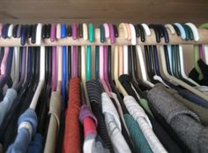 We all buy clothes we don't wear, and it takes up unnecessary closet space. Place your hangers the opposite way, and after you use an article of clothing, hang it up regularly. By the end of the year (or season), donate the clothes that are still hanging backward.