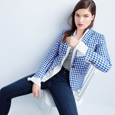 J.Crew Looks We Love: women's Campbell blazer in gingham, Thomas Mason® for J.Crew boy shirt, tissue T-shirt and Point Sur hightower skinny jean in Drifter wash.