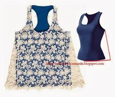 Several examples of how to use lace and crochet to refashion a plain shirt Diy Clothing, Sewing Clothes, Diy Fashion, Ideias Fashion, Fashion Design, Fashion Tips, T-shirt Refashion, T Shirt Remake, Umgestaltete Shirts