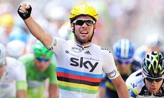 Mark Cavendish wins stage 2 of the 2012 Tour de France. Incredible sprinter