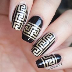 Greek nails by @naturenail using our Greek Nail Stencils found at…