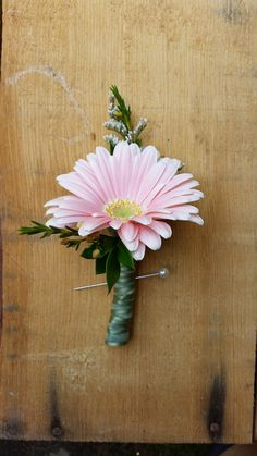 Gerber daisy boutonniere but with blue accents instead of babys blossom bliss florist boutonniere gerber daisy junglespirit Gallery