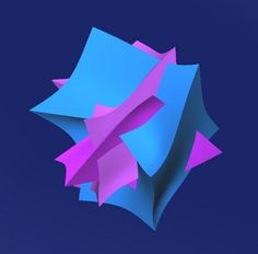 3D icon created from distorted manipulated cubes in Anarkik3D's Cloud9.