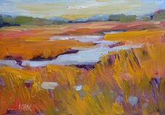 Golden Marsh Texture Abstracted Landscape 5x7 Original Oil Painting Karen Margulis