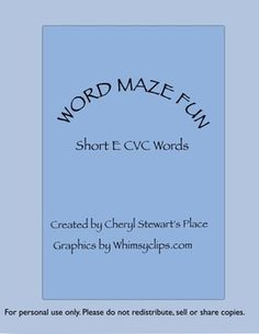 Word Maze Fun-Short e CVC words