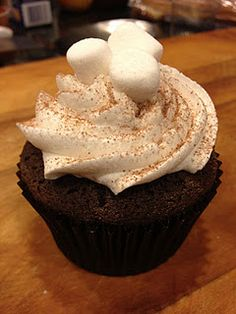 My newest creation!  Hot Cocoa Cupcakes with Marshmallow Buttercream
