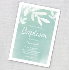 Watercolour Baptism Invitation by ClementineCreative on Creative Market