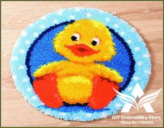 3D Latch Hook Rug Kits DIY Needlework Unfinished Crocheting Rug Yarn Cushion Mat Yellow Duck Embroidery Carpet Rug Needlework