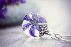 Scilla Flower Necklace Botanical Jewelry Blue Purple Dried
