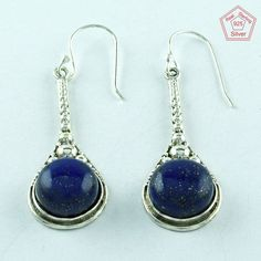 LAPIS LAZULI STONE 925 STERLING SILVER MODERN EARRINGS FOR LOVED ONES E3027 #SilvexImagesIndiaPvtLtd #DropDangle