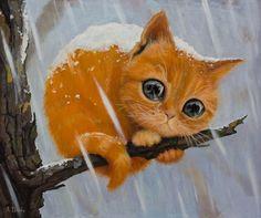 Фото Рыжий котенок сидит на ветке дерева, идет снег и только жалобный взгляд животного выдает, как ему тяжело в этом жестоком и равнодушном мире