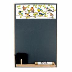Byd fuglene indenfor på børneværelset eller i køkkenet - A4 kridttavle. #kridt #tavle #fugle #februar #SPB # smagpåbordet
