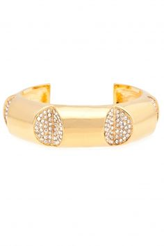 Pave Cut Out Cuff:  Gold with Crystals,  14K Gold Plating. $215