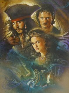 Pirates of the Caribbean original mixed media John Alvin Caribbean Jacks, Caribbean Art, Pirates Of The Caribbean, Keira Knightley Pirates, Captain Jack Sparrow, Pirate Life, Orlando Bloom, Drawing People, Johnny Depp