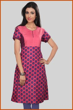 Pink and Purple Cotton Readymade Kurta Itemcode: TNK30 Price: US $24.13 Click here to shop: http://www.utsavfashion.com/store/item.aspx?icode=tnk30