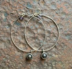 Hand Hammer Hoop with Fresh Water Pearl Sterling Dangle with a drop of Amethyst on Etsy, $40.00