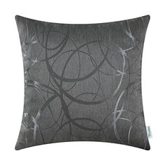 Calitime Throw Pillow Shells Cover Grey 20 by 20 Inches Jacquard Ring Circle Geometric Accent Home Decor Both Sides *** For more information, visit image link. Note: It's an affiliate link to Amazon