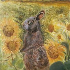 Sunflowers bunny. Acrylics.