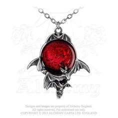 """Alchemy Gothic Blood Moon Flying Bats Pendant Necklace A skein of bats flitters about this deep and sinister portent. With large blood red enamel moon. Approximate Dimensions: Width 1.97"""" x Height 2.28"""" x Depth 0.39"""" Chain Length: 21"""" Materials: Fine English Pewter and Enamel"""