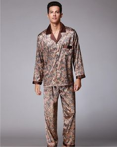 79e33d9a98 Autumn Winter Coffee Men Silk Pajamas Set Chinese Traditional Pyjamas Suit  2PCS Sleepwear Bath Gown Size ...