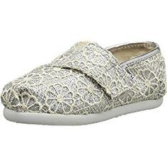 Toms Girls ALPARGATA slip on shoes/flat, Silver, 3 M US Infant