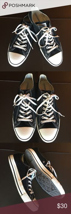 "Converse Black Sneakers Classic Converse Chuck Taylor sneakers. Measures 12""inches toe to heel. Slight wear on soles but no damage or stains on material. Converse Shoes Sneakers"