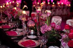 fuchsia wedding decor, fuchsia reception linens, fuchsia flowers