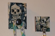 Dia de los Muertos Coat or Leash Wall Hook and by julies5150world
