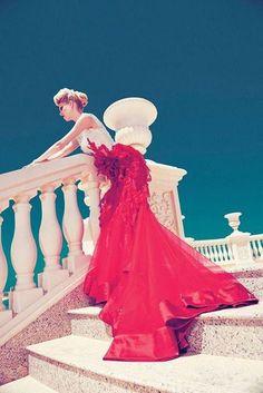 elegant, fashion , long , red ,