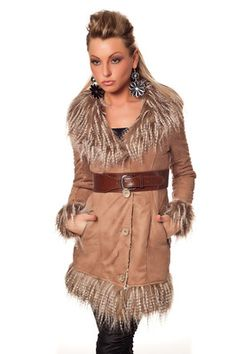 Damen Long Jacke Mantel mit Fellimitat und Gürtel