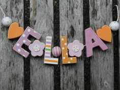 ELLA  WOODEN LETTER DOOR NAME DECORATION PERSONALISED SHABBY CHIC BABY NURSERY