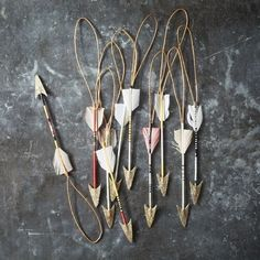 Striped Arrow Ornament (This is a dead link to West Elm, but I'm sure these could be an easy DIY for Valentine's. Holiday Crafts, Holiday Fun, Christmas Holidays, Christmas Decorations, Christmas Ornaments, Festive, Navidad Diy, Deco Boheme, Valentines Day Weddings