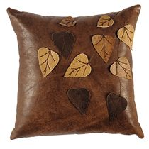 The Branch leather accent pillow features brown Branch leather with beautiful leaf appliques. This handsome leather accent pillow would make a great addition to a rustic or western decor. Made in the USA. Leather Throw Pillows, Leather Pillow, Sofa Pillows, Accent Pillows, Decorative Throw Pillows, Floor Pillows, Leather Cushions, Diy Pillows, Leaf Curtains