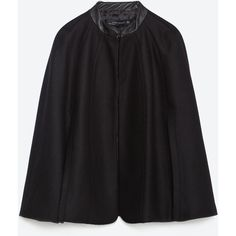 Zara Short Cape With Faux Leather Detail (615 RON) ❤ liked on Polyvore featuring outerwear, black, black cape, short cape, cape coat, zara cape and short cape coat
