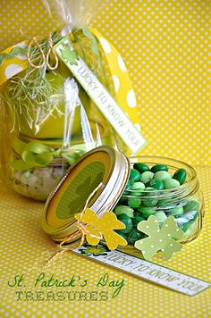 green m&ms and also an apple with dip gifts for St. Patrick's Day by @The 36th Avenue .com