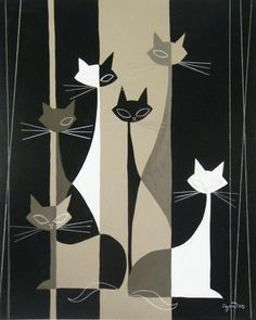 Cats. Love the color and 50s vibe. This would make a great fabric print, too. I like most of his work.