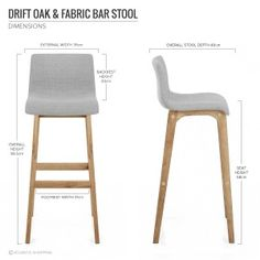 Drift Oak Light Grey Fabric Stool