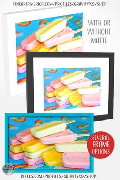 * Creamy Ice Cream Treats Framed Art by #Gravityx9 at Fine Art America and Pixels * Home or Kitchen decor * A nice size for wall hanging in kitchen or office (several sizes available) * Framed prints have options for matte (or not matte) and frame styles/colors. * Poster prints and canvas wall decor also available. * framed art * kitchen wall art * ice cream wall decor for kitchen * wall decor ideas * #walldecor #homedecor #walldecorideas #framedprints #icecream #popsicles #framedart 0821 Framed Art, Framed Prints, Poster Prints, Kitchen Wall Art, Kitchen Decor, Beach Supplies, Cream Walls, Camping Pillows, Ice Cream Treats