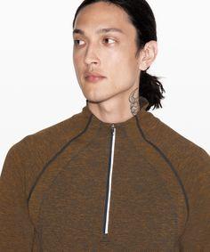 lululemon Men's Metal Vent Tech Zip Fools Gold/True Navy, Size S Long Sleeve Henley, Long Sleeve Tops, Lululemon Men, Street Style Women, Tomboys, Zip, Metal, Womens Fashion, Sleeves