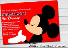 MICKEY MOUSE Birthday Invitation Classic by PerfectPixelFactory