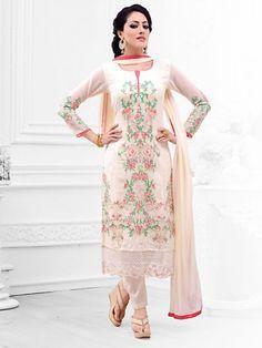 Fabulous Cream Colored Georgette Designer Salwar Suit