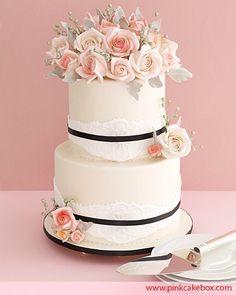 Pink Rose & Ivory Lace Wedding Cake