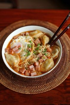Hot and Spicy Breakfast Ramen. Gyoza Spam Eggs and Ramen in a Hot and Spicy Soup Ramen Recipes, Noodle Recipes, Cooking Recipes, Pork Recipes, Chamorro Recipes, Sushi Recipes, What's Cooking, Yummy Recipes, Recipies